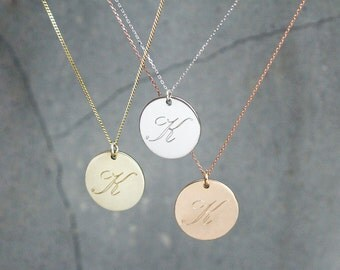 Personalized Coin Initial Engraved Necklace SilverStella