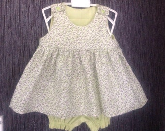 Flower girl dress tone green and her panty