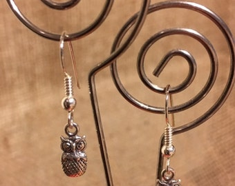 Silver Wise Owl Sterling Silver Earrings