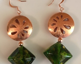 USA FREE Shipping!!  Copper and Lampworked Glass Earrings