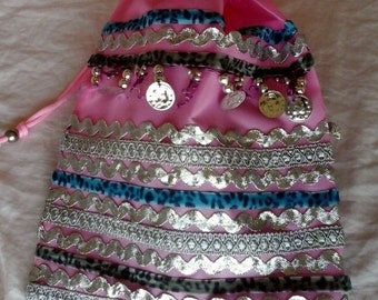 Boho wrist bag, Pink colorful strings beach/ ballet bag