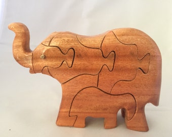 Elephant Wooden Puzzle with Infant