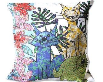 Cat Cushion with pad-Decorative Pillow-Chair Cushion - Colorful cat soft furnishings - Pretty Pillow for living room or bedroom. lovely gift