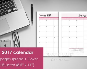 "Printable 2017 Calendar, 2 Pages. US Letter Size (8.5""x11""), Portrait. Includes cover. Instant download. PDF format. High resolution 300 dpi"