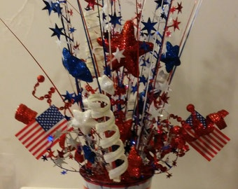 Patriotic 4th of July Pail with Mini Flags and Stars