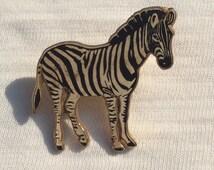 Zebra metal enamal pin badge, nice vintage zebra pin badge, 1990s badge