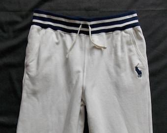Polo Ralph Lauren Vintage Preppy Tennis Sweats Youth Men's Size Large (14-16) White Sweatpants EUC