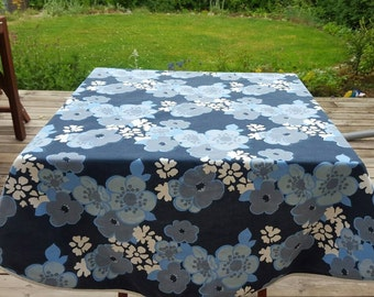 Vintage swedish printed flowers blue cotton tablecloth, scandinavian design doily mid century modern