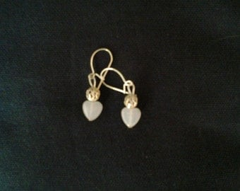 White Glass Heart Shaped Earrings