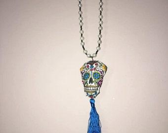 Sugar Skull Tassel Necklace