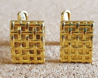 Gold Basket Weave Cufflinks