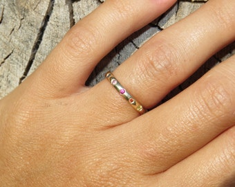 Rainbow Ring, Eternity Ring, Ruby ring,  Sapphire ring, Stacking ring, Gold Eternity Ring, Engagement Ring, Free Shipping