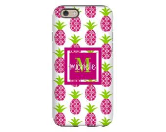 Pineapples iPhone case, iPhone 8/8 Plus, monogram iPhone X case, iPhone 7/7 Plus case, iPhone 6s Plus/6s case, iPhone 6 Plus case/6 case