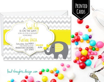 Elephant Baby Shower Printed Invitations/ Elephant First Birthday Invite/ Custom Invitation/ Personalised Birthday Party/ Party Printables