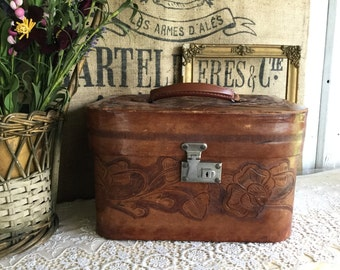 RARE VINTAGE LEATHER Hand tooled Train Case with stickers, leather interior, leather suitcase, carry on bag, tooled travel bag, makeup case