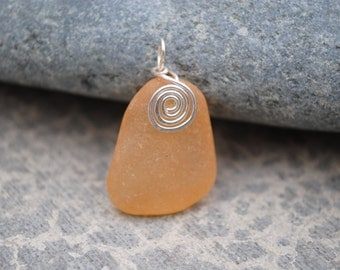 Stained orange seaglass pendant