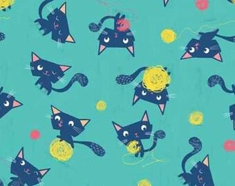 Cute Cat Fabric   Kitty Cat Fabric   Blue Cats    Kittens   Cute Fabric   Baby   Nursery Decor   Cat Material   Cats Playing Yarn