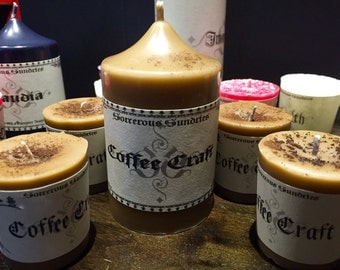 Coffee craft - coffee scented soy pillar and votive candles
