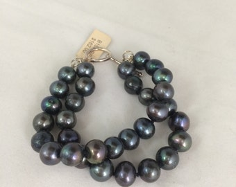 Black Fresh Water Pearls 10-11 mm  With Silver Clasp Bracelet