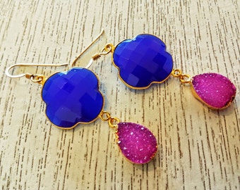 Chalcedony and Druzy Earrings