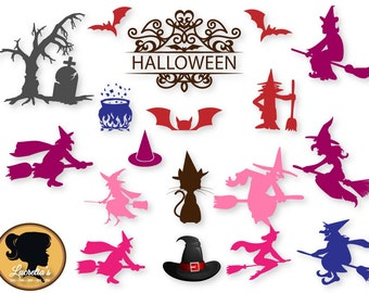 Witches silhouette, Halloween vector files, Witch Hat, Witches collection clip art svg, dxf, eps, png