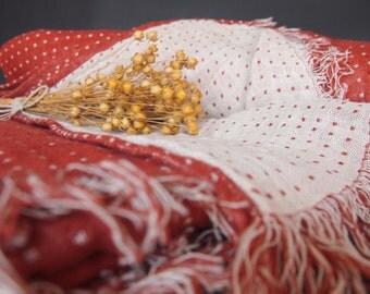Linen Blanket, Red, White dot Blanket, Linen Bedding, Linen Gift