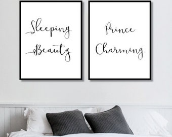 Sleeping Beauty + Prince Charming Prints // Her Poster // Bedroom Decor // Minimalist Poster // Wall Decor For Couple // Bedroom Art