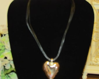 black rope necklace with heart charm