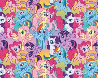 "Pony Fabric, Cartoon Fabric: Hasbro My Little Pony Fabric Packed Ponies 100% cotton 43"" fabric by yard 36"" (SC277)"