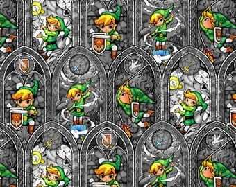 "IN STOCK - Nintendo Fabric: Legend of Zelda Sword Powers  100% cotton 44"" wide fabric by the yard (K148)"