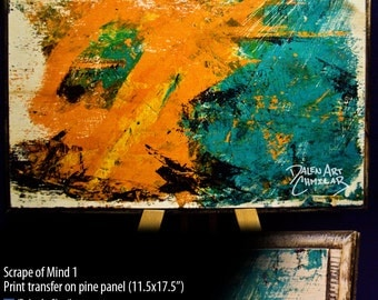 Expressive abstract print on wood panel - Scrape of Mind