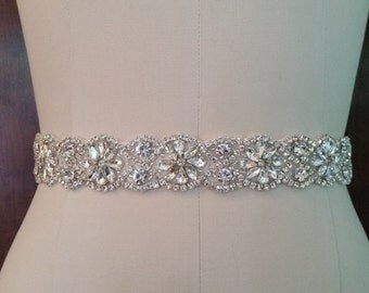 Wedding Belt, Bridal Sash Belt - CLEAR Crystal Wedding Sash Belt