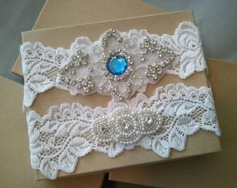 Wedding garter, Bridal Garter Set - Something Blue Pearl Wedding Garter Set