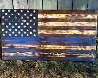Rustic Thin Blue Line American Flag