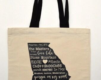 Georgia tote bag, Southern Tote Bag, Georgia Word Art, Georgia Gift, Southern gift, Georgia Tote bag, southern tote bag, GA bag, GA tote