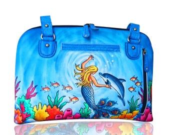 Hand Painted Mermaid Handbag, Handmade Leather  Dolphin Shoulder bag,