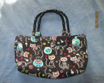 Day of The Dead Cat Print Purse