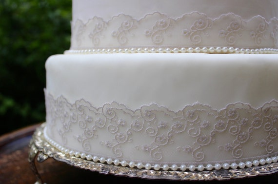 wedding cake lace trim vintage grey lace amp pearl wedding cake topper set pearl 23058