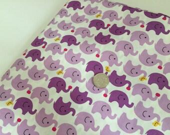 Purple Elephants 100% Cotton Fabric