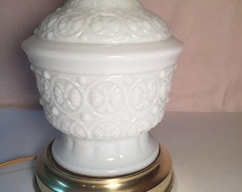 Vintage milk glass hurricane lamp