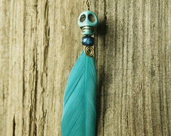 Feather earring earring skull Mexico howlith skull feather headdress hippie Beach Gipsy boho beads turquoise of flower power ethno Festival Bohemian