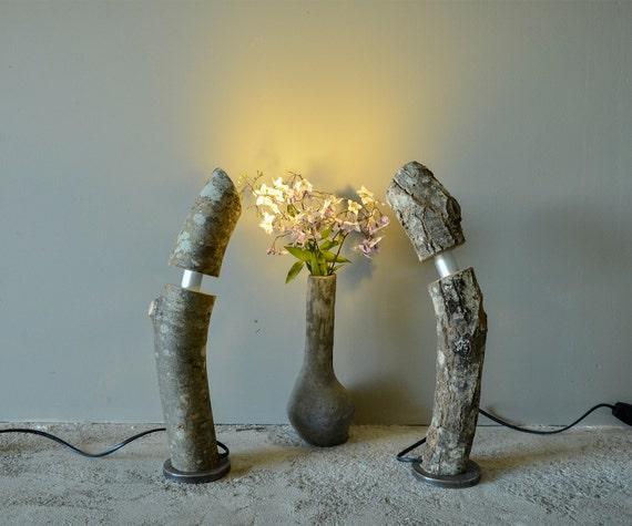Lámpara de troncos de madera hechos a mano par de por Mennolight