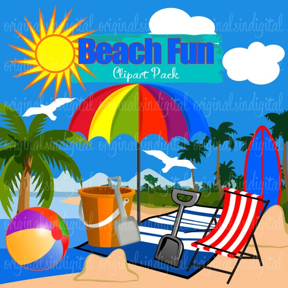 80% OFF SALE Beach Fun clipart sun coconut tress umbrella