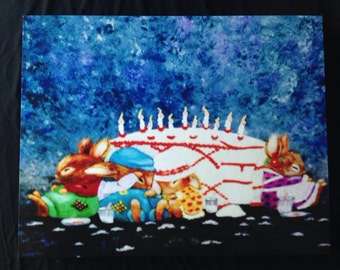 Mice Eating Cake Print on Frameless Wooden Picture