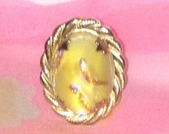 Gold Tone and Yellow stone ring