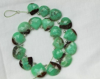 18 piece faceted heart CHRYSOPRASE briolette beads 9 -- 14 mm