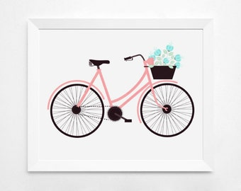 Pink Bicycle Art. Bicycle Wall Art. 11x14. 8x10. Bicycle Wall Decor. Bike Art. Bike Wall Art. Bike Wall Decor. Bike Wall Decal. Bike Print