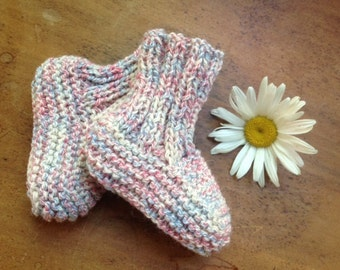Wool/cotton blend booties (0-6 months) / slippers wool/cotton (0-6 months)