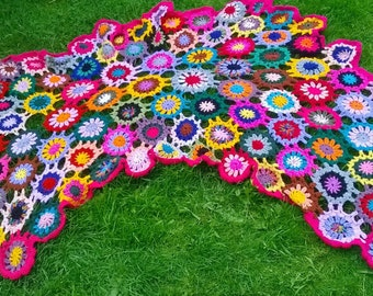 Multi-coloured freeform crochet throw/afghan/blanket