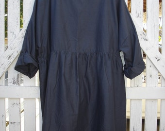 Navy Cotton Gathered Dress Bohemian one size fits most
